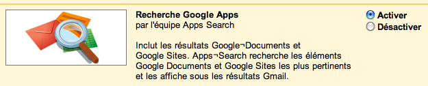 Gmail labs : Apps Search