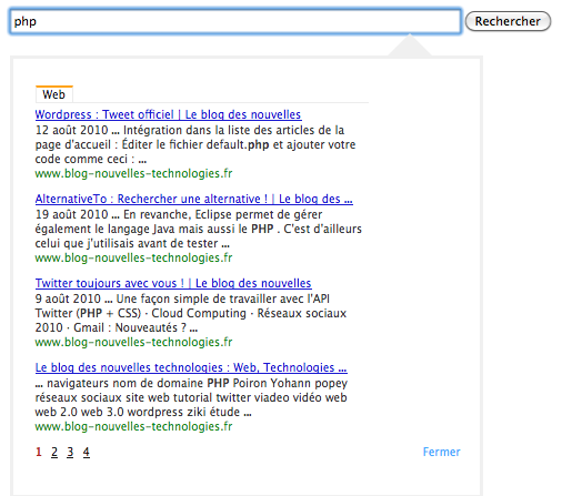 Exemple d'utilisation de l'API AJAX de Google Search