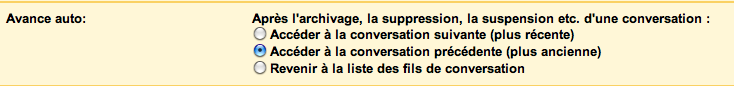 Paramètres de Auto-avant de Gmail