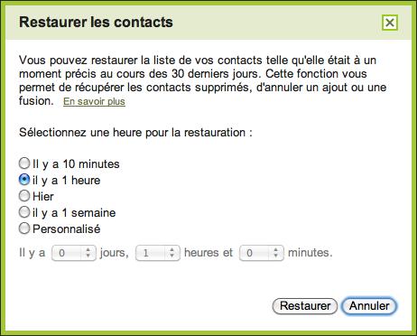 Gmail invente son propre TimeMachine pour vos contacts - Restaurer les contacts