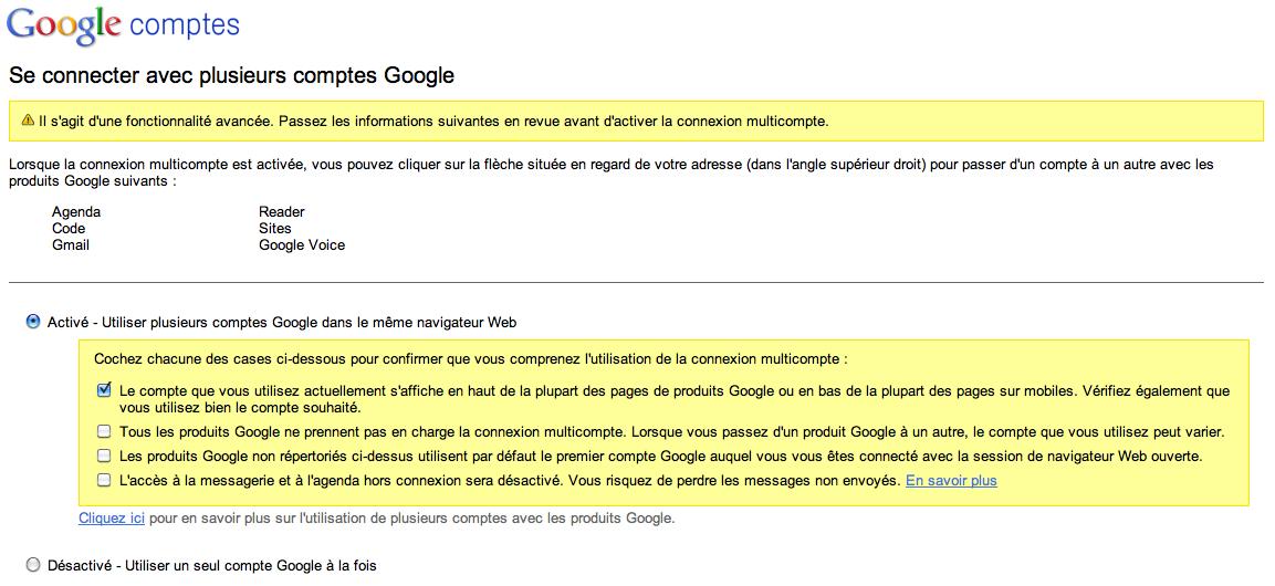 Gmail invente son propre TimeMachine pour vos contacts - Activer la gestion multi-comptes