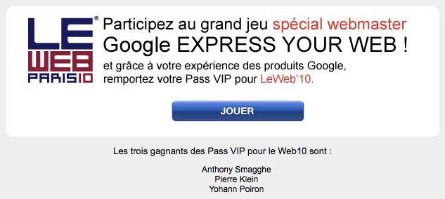 Gagnants du jeu concours Google Express Your Web