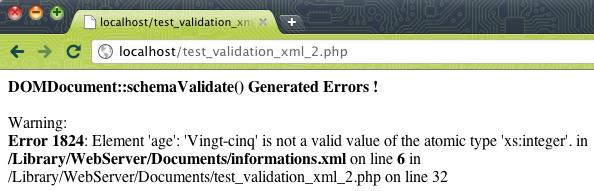 Validation d'un document XML à l'aide d'un schéma XSD en PHP - Test de la validation sur un serveur Web - Affichage des erreurs