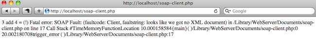 Retour d'erreur du client SOAP en cas d'erreur