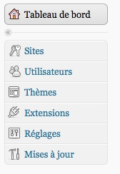 La première release candidate (RC1) pour WordPress 3.1 est maintenant disponible !- Network Admin