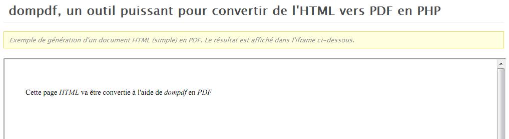dompdf, un outil puissant pour convertir de l'HTML vers PDF en PHP - Génération en PDF du fichier d'exemple