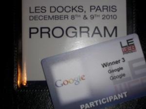 Interview de Google et retour sur leurs Workshops à LeWeb'10 - Pass Google Winner 3