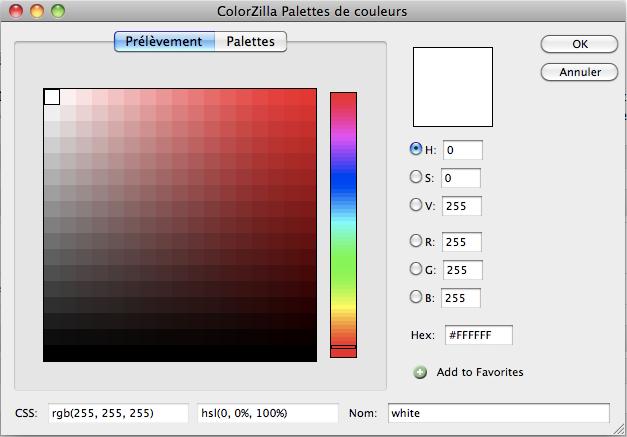 Top 10 des plugins de Firefox pour les développeurs Web - Affichage du résultat de la pipette de Colorzilla