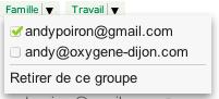 Deux améliorations pour contacter des groupes sur Gmail - Choix d'une adresse mail d'un contact pour un groupe