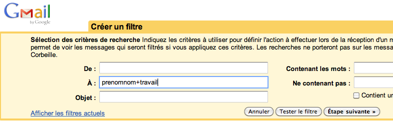 Pour un compte Gmail, plusieurs adresses mail disponibles - Remplissage du filtre