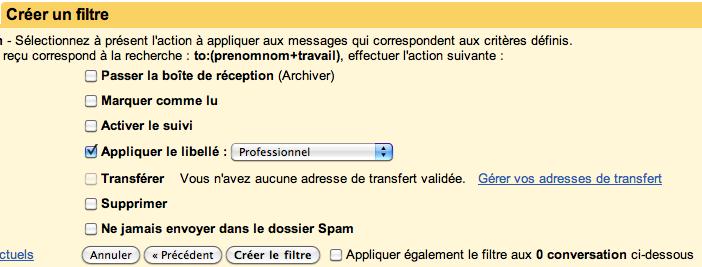 Pour un compte Gmail, plusieurs adresses mail disponibles - Application du filtre