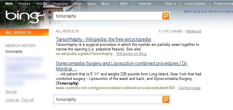 Google a largement de quoi attaquer Microsoft ! On appelle ça se faire piéger... - Résultat de tarsorrhaphy dans Bing
