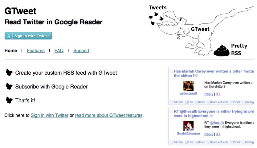 GTweet vous permet de lire votre timeline Twitter dans Google Reader - GTweet
