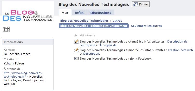 Mise à jour du design du blog des nouvelles technologies - Page Fan Facebook