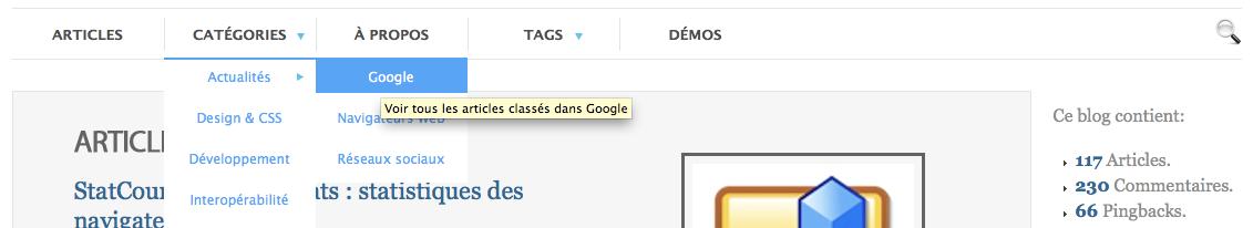 Mise à jour du design du blog des nouvelles technologies - Dropdown sur le menu des catégories
