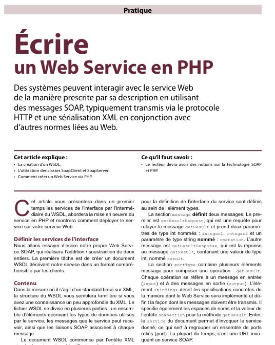 PHP Solutions : Février 2011 - eZ Publish Guide de développement - Articles Web Services