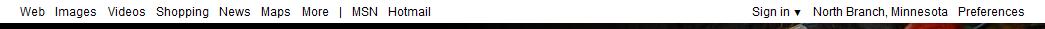 Bing test une nouvelle barre de recherche en HTML5... - Liens sur fond blanc (nouvelle barre)