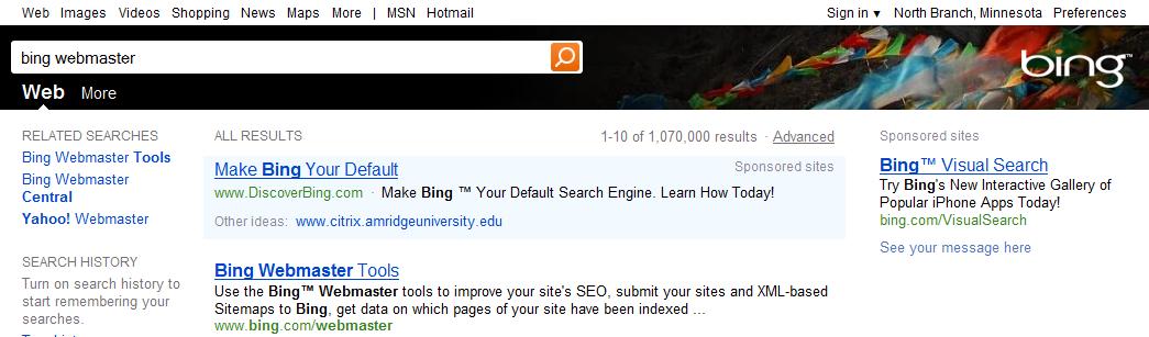 Bing test une nouvelle barre de recherche en HTML5... - Nouvelle barre de recherche.