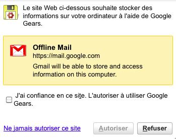 Chrome 12 arrête son support à Google Gears - Autorisation de l'application