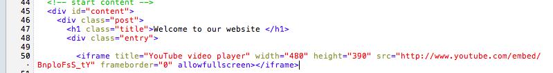 Comment faire pour utiliser Dropbox et héberger gratuitement un site Web - Ajout du code Youtube
