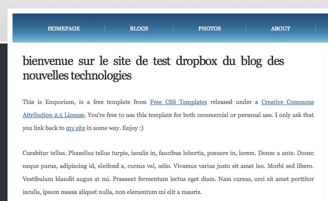 Comment faire pour utiliser Dropbox et héberger gratuitement un site Web - Site Web depuis Dropxbox