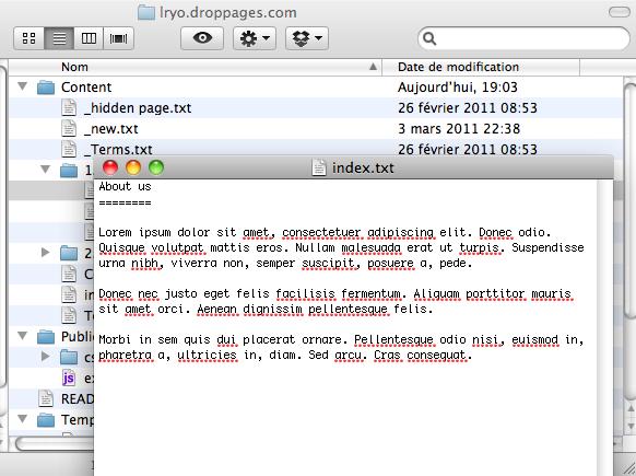 DropPages vous permet de créer un site Web à l'aide de votre compte Dropbox, avec zéro compétences HTML - Édition des pages du site