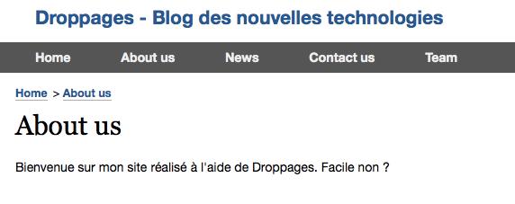 DropPages vous permet de créer un site Web à l'aide de votre compte Dropbox, avec zéro compétences HTML - Résultat du site Web