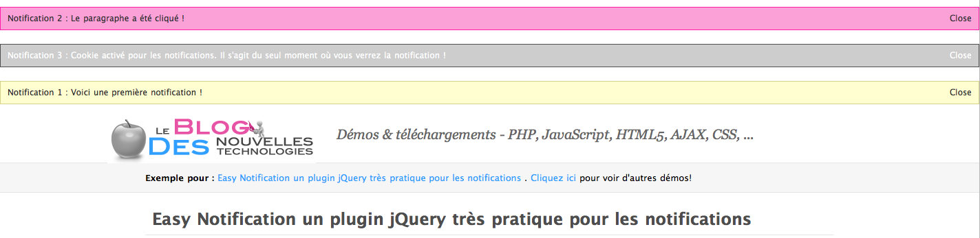 Easy Notification un plugin jQuery très pratique pour les notifications - Notification