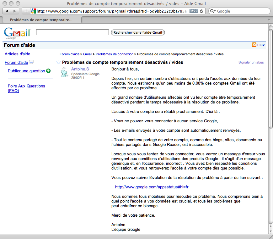 Gmail a 'bientôt' restaurer tous ceux touchés par la perte des mails avant-hier - Forum de Google