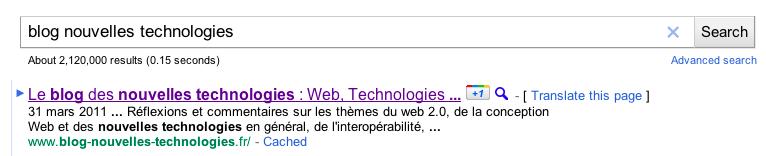 Google adopte la 'like' attitude avec son bouton '+1' - +1 sur le blog des nouvelles technologies