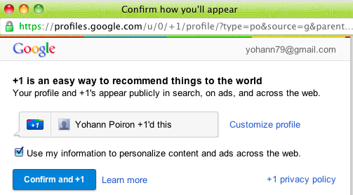 Google adopte la 'like' attitude avec son bouton '+1' - Confirmation du +1