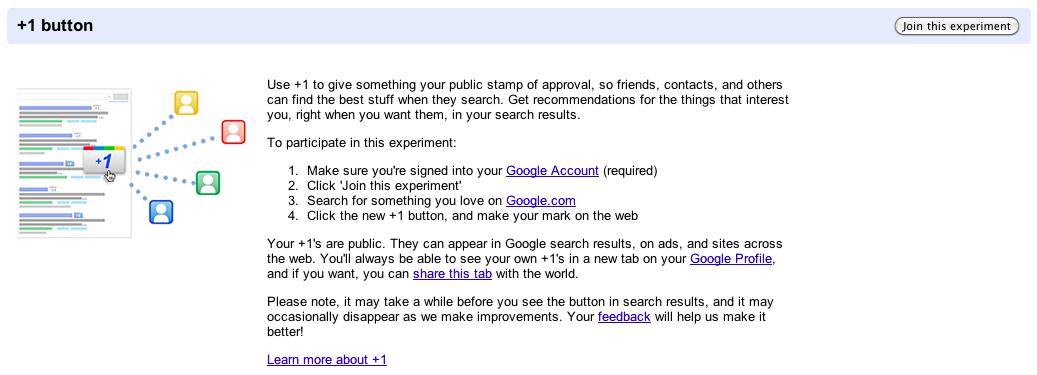 Google adopte la 'like' attitude avec son bouton '+1' - Expérimentation Google +1