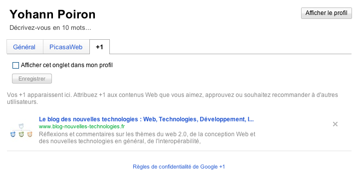 Google adopte la 'like' attitude avec son bouton '+1' - Affichage des +1 sur votre profil