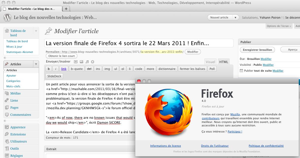 La version finale de Firefox 4 sortira le 22 Mars 2011 ! Enfin...