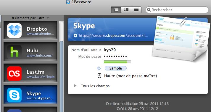 12 applications Mac pour synchroniser vos données via votre Dropbox - 1Password