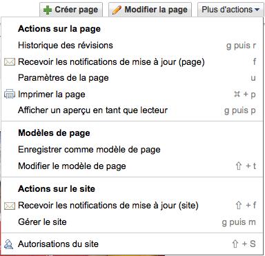Comment faire pour utiliser Google Sites en tant que Wiki et collaborer sur des projets - Menu de sélection dans le menu déroulant