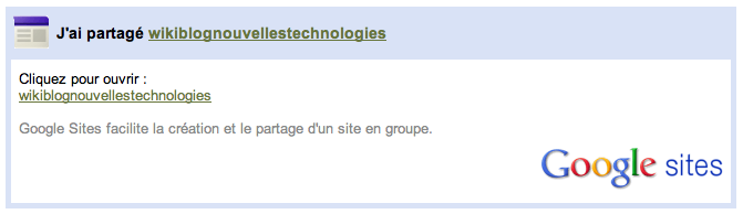 Comment faire pour utiliser Google Sites en tant que Wiki et collaborer sur des projets - Notification mail de partage