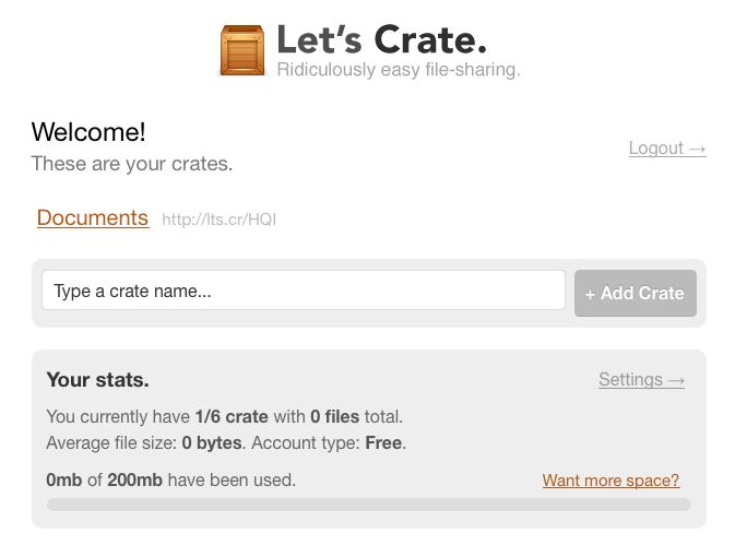 Trois nouvelles et superbes façon de partager des fichiers en ligne - Crate téléchargement d'un fichier