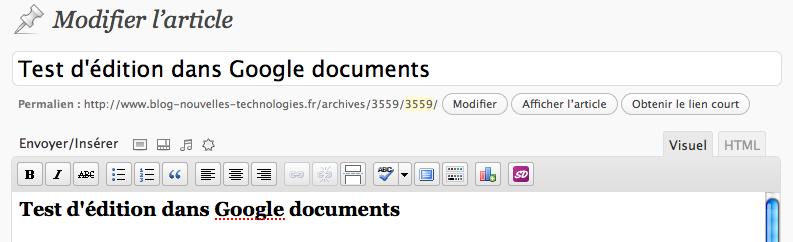 Utilisez Google Docs pour publier des articles sur votre blog - Modification de l'article dans WordPress