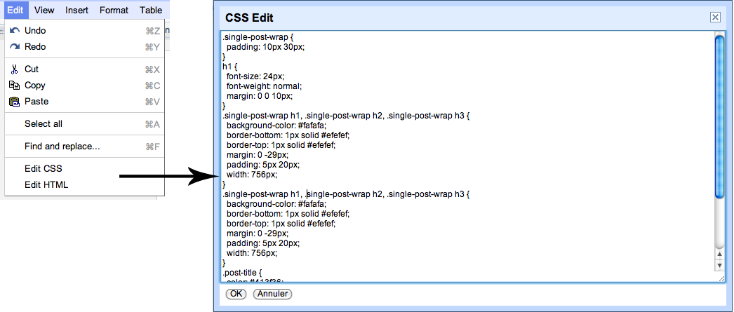 Utilisez Google Docs pour publier des articles sur votre blog - Édition de la CSS dans Google Docs