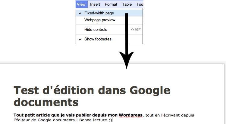 Utilisez Google Docs pour publier des articles sur votre blog - Fixer la largeur de la page dans Google Docs