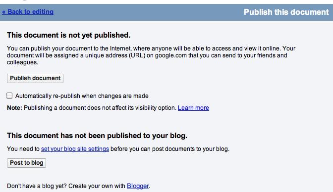 Utilisez Google Docs pour publier<br /> des articles sur votre blog - Publier en tant que page Web dans Google Docs