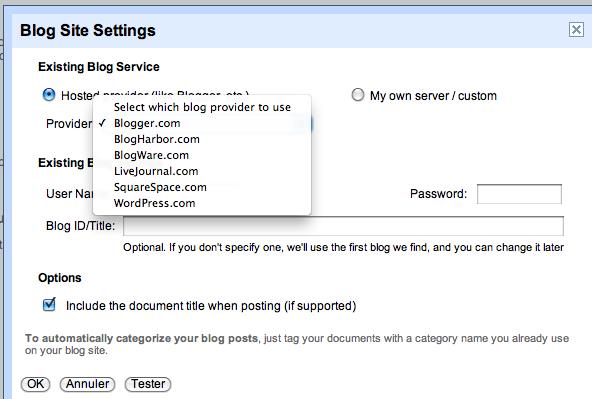 Utilisez Google Docs pour publier des articles sur votre blog - Choix des plateformes de blog