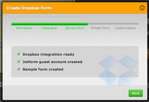 Créez des formulaires Web avec l'aide de Dropbox Forms - Création du formulaire Dropbox
