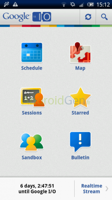 Les développeurs sont rassemblés ce mardi à San Francisco pour la Google I/O 2011 - Accueil de l'application Android