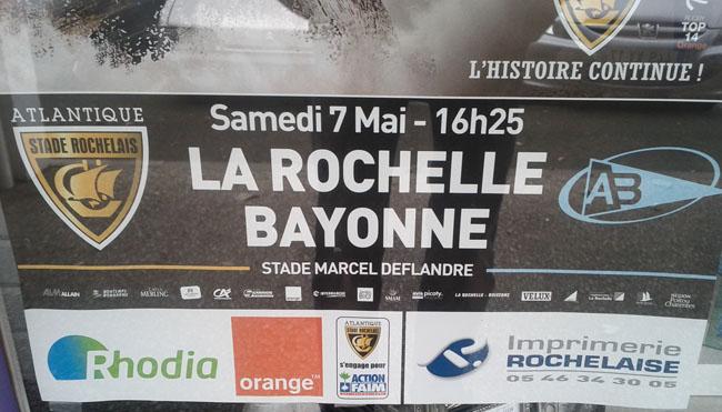 Mon retour sur le livetweet Orange de la dernière journée de Top 14 : Stade Rochelais - Bayonne  - Affiche