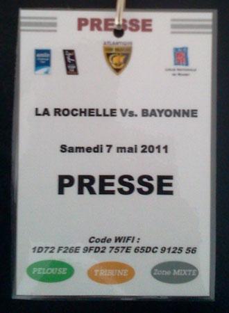 Mon retour sur le livetweet Orange de la dernière journée de Top 14 : Stade Rochelais - Bayonne  - Badge Presse