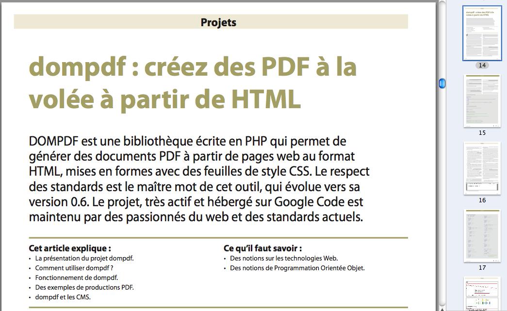 PHP Solutions : Mai 2011 – XAMPP - Publication sur dompdf - DOMPDF : créez des PDF à la volée à partir de HTML