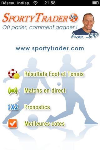 Une application gratuite 'Foot et Tennis en direct live' débarque sur iTunes - Accueil de l'application