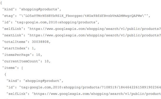 Comment utiliser l'API de Google Shopping en PHP - Résultat des produits reçus en JSON